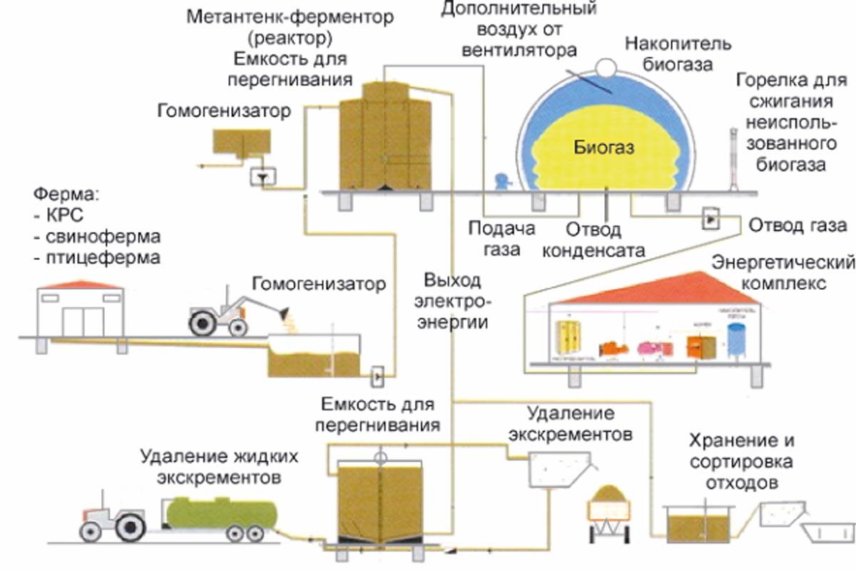 схема получения биогаза для фермерского хозяйства