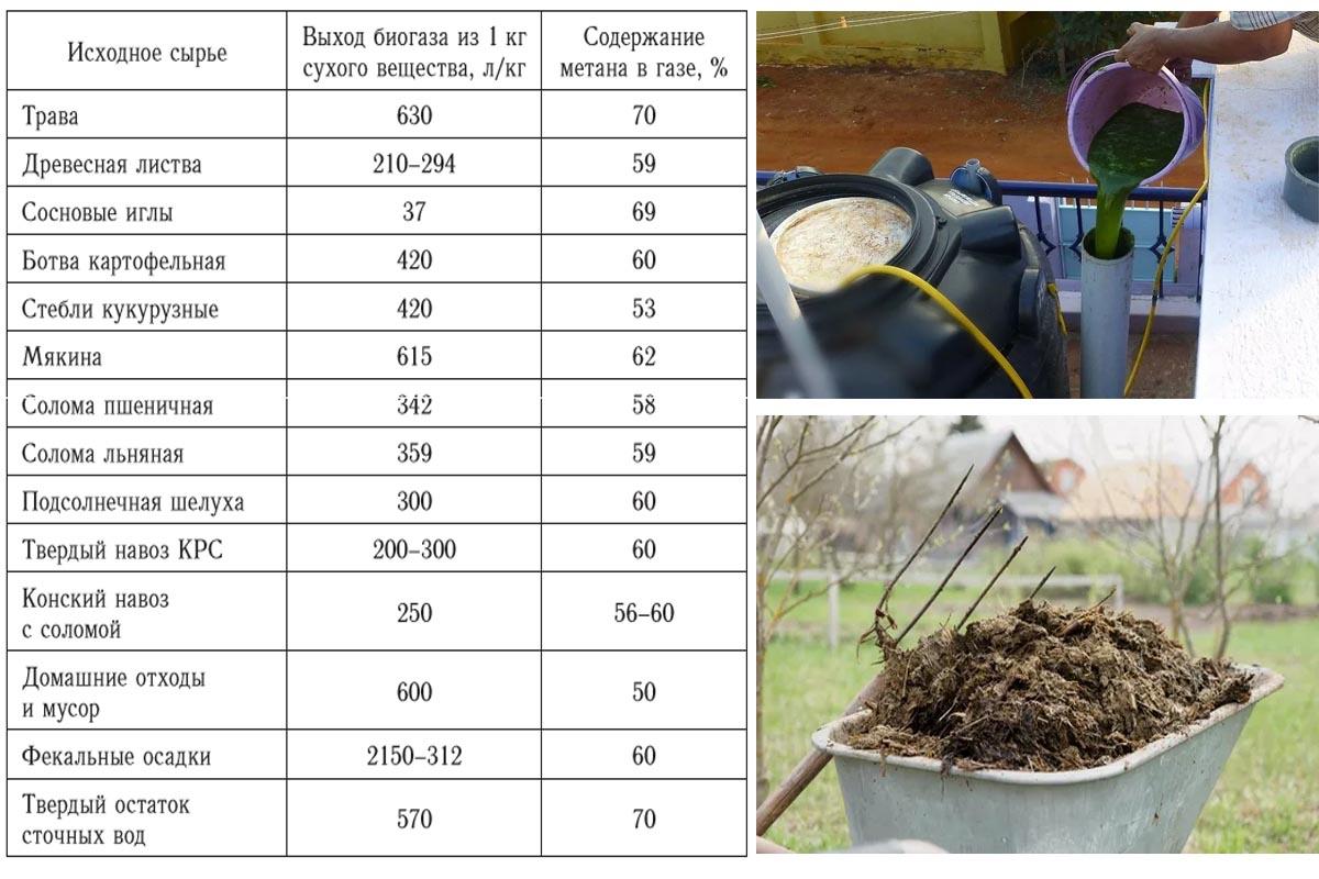 Сырье для домашней биогазовой установки